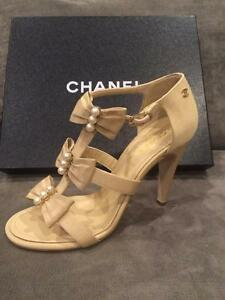 7d19d2b27687f7 CHANEL 16S Grosgrain Satin Pearl Bow Open T Strap Sandals Heel Shoes ...