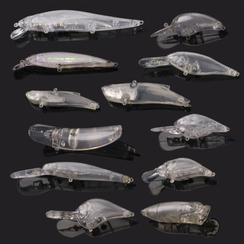 12pcs//Set Blank Minnow Crankbait Unpainted Fishing Lures Wobblers with Eyes Gift