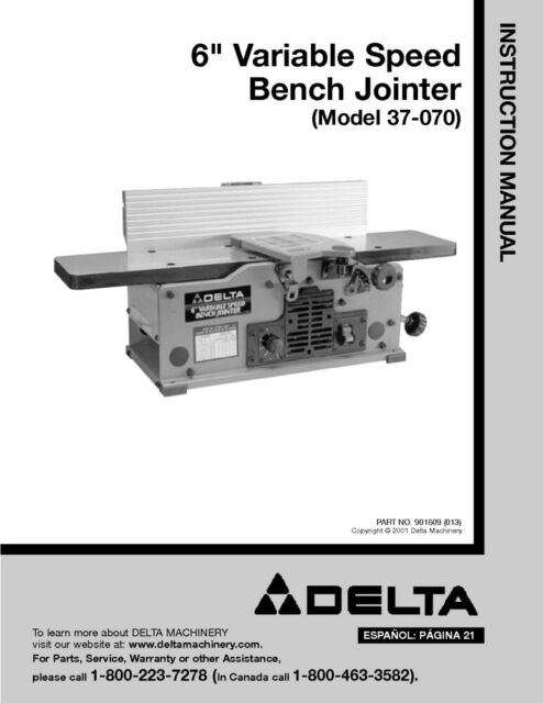 Delta 37 070 6 Vriable Speed Bench Jointer Instruction Manual
