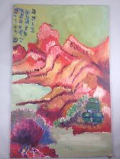 Colorful Chinese Mountain Landscape Painting - Original Oil on Board