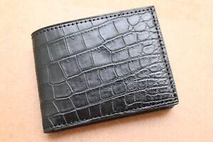 Double Side Handmade Dark Brown Genuine Crocodile Leather Skin MEN Bifold Wallet