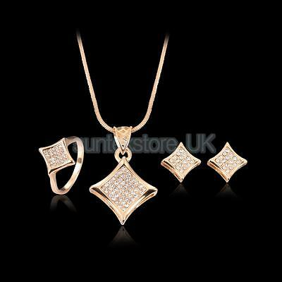 Bridal Rose Gold Plated Wedding Crystal Zircon Necklace Earrings Jewelry Set