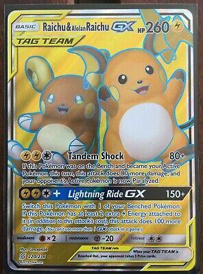 Pokemon Card  RAICHU /& ALOLAN RAICHU  GX  Ultra Rare 220//236  UNIFIED MINDS MINT