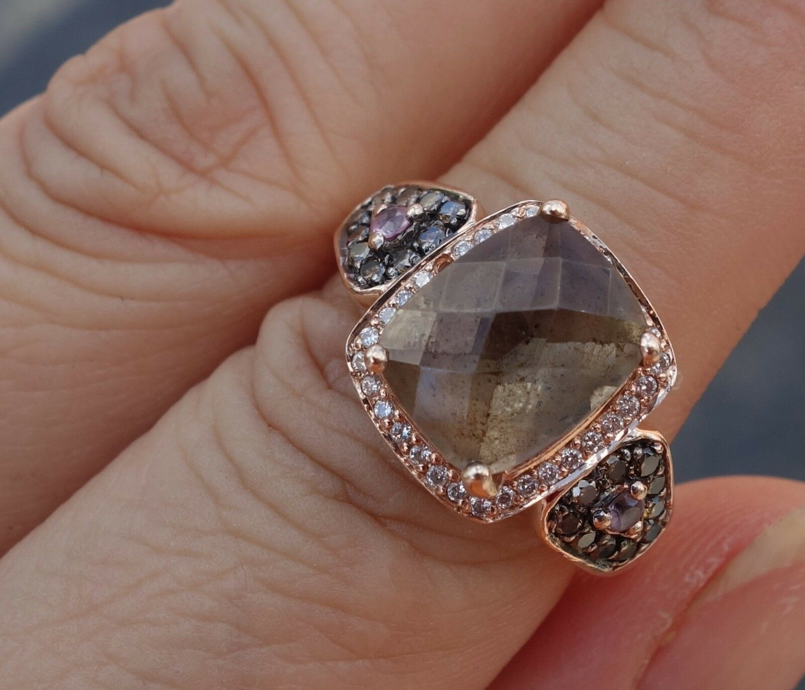 Le Vian Diamond Smoke Topaz Chocolate pink gold ring Missing a small stone