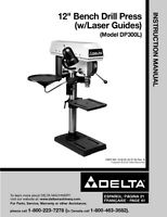 Delta Dp300l 12 Bench Drill Press Instruction Manual