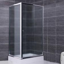 Box doccia lato fisso e porta scorrevole in vetro cristallo 6 mm opaco 80x110