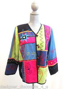 c2cb3610ab Indigo Moon black QVC art to wear colorful blazer jacket top size L ...