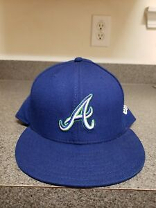 79af7a6fe67e6 Atlanta Braves New Era Fitted Hat Cap 59Fifty 5950 59 Fifty Blue ...