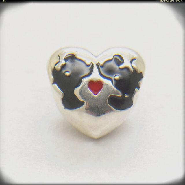 New Love Heart Minnie & Mickey Kiss Charms GENUINE 925 Sterling silver bead