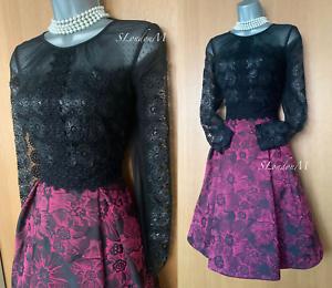 Karen-Millen-UK-10-Black-Lace-Pink-Jacquard-Fit-Flare-Pleated-Prom-Party-Dress