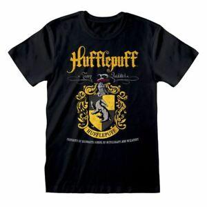 Para-Hombre-Negra-De-Harry-Potter-Hufflepuff-Crest-Casa-Camiseta-Hogwarts-Tee