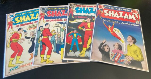 Lot of 4 1970s DC SHAZAM! #2,3,7,10 VF but dark pg edges *Very Bright & Glossy!*