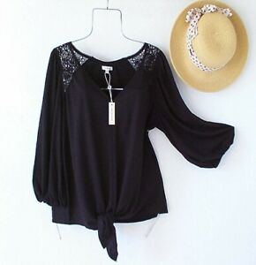 New~$68~Black Crochet Lace Peasant Blouse Shirt Spring Boho Top~Size Large L
