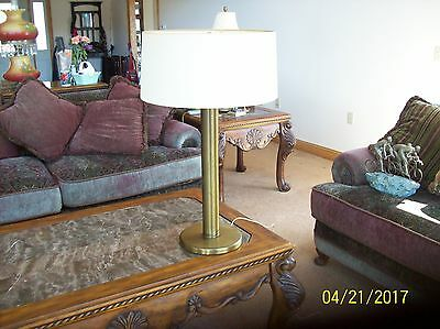 "Antiques Aspiring Antique Brass Vintage Diffuser Reflector Pillar Table Lamp 31 5/8"" Tall & Shade Decorative Arts"