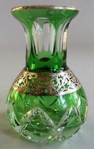 1900 Cut Crystal Art Glass Fine Moser Art Nouveau Silver Overlay Miniature Glass Vase C