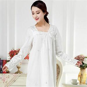 d86001d6b6 Womens Sweet Sleepwear Vintage Retro Princess Dress Nightgown Cotton Pajama  Gown