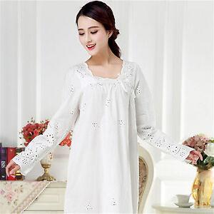 d86001d6b6 Womens Sweet Sleepwear Vintage Retro Princess Dress Nightgown Cotton Pajama  Gown