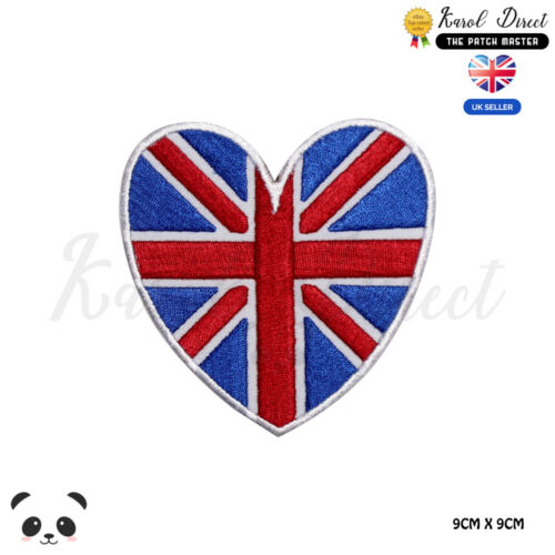 United Kingdom Heart National Flag Iron on Sew on Embroidered Patch Badge