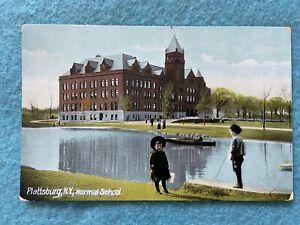 Normal-School-Plattsburg-New-York-Vintage-Early-1900-039-s-Postcard