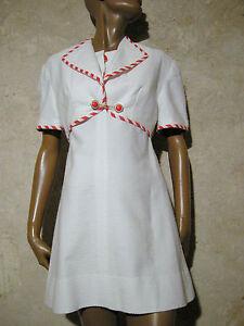 Humorvoll Schick Vintage Kleid & Bolero Piqué Baumwolle 1960 Vtg Anzug 60s 60er Jahre (36/ Seien Sie Freundlich Im Gebrauch