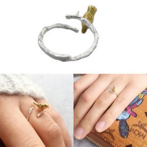 Sterling-Silver-Bird-branch-Twig-Designer-Ring-Novelty-gift-Cute-Kawaii