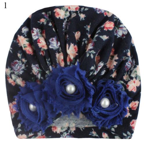 Infant Headband Flower Cotton Bow Turban Headband Stretchy Baby Girl Beanie Hat