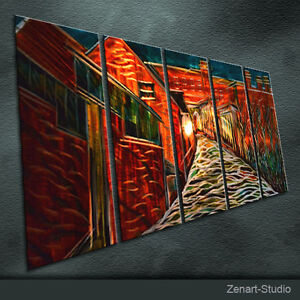 Shining metal wall art large 3d painting sculpture indoor for Large 3d wall art