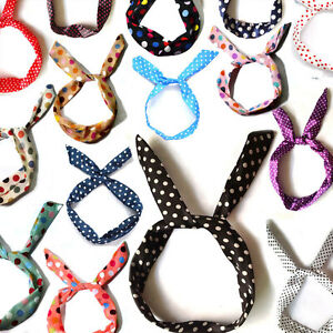 Retro-Wire-PolkaDot-Headband-Head-Band-Scarf-Wrap-Headwrap-Polka-Dot-11-colors