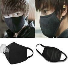 2pcs BLACK Unisex Men Women Cycling Anti-Dust Cotton Mouth Face Mask Respirator