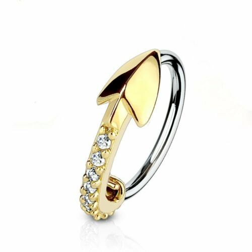 316L Surgical Steel L Bend Nose Stud Ring Silver IP CZ Paved Arrow Heart Top