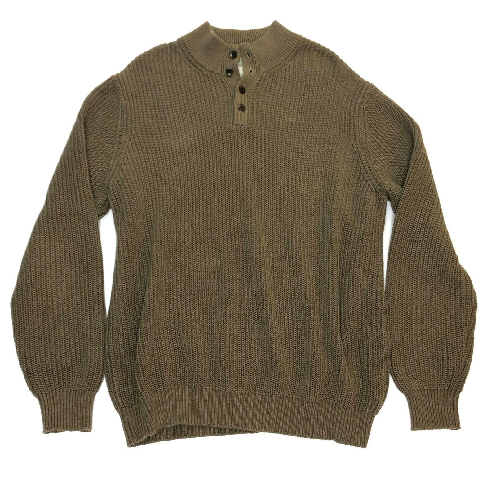 L.L. Bean Men's Henley Sweater XL Chunky Cable Knit Fisherman Olive