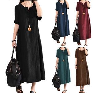 638f2af0e4d29 Womens Baggy Short Sleeve Cotton Linen Dress V-Neck Long Maxi ...