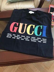 NEW-Men-s-Size-M-GG-T-Shirt-100-Cotton-Rainbow-Cities-Balenciaga-GG-Nike-Kering