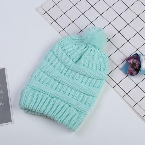 Kids Beanie Knitted Skull Cap Winter Cable Knit Girls Hat with Pom Pom