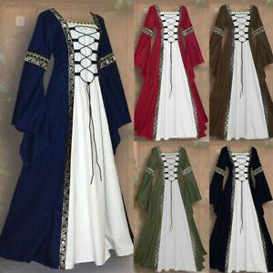Women-Vintage-Celtic-Medieval-Floor-Length-Renaissance-Gothic-Cosplay-Long-Dress