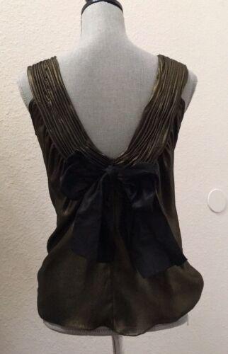 Vera Wang Lavender Label Gold Metallic Silk Bow To