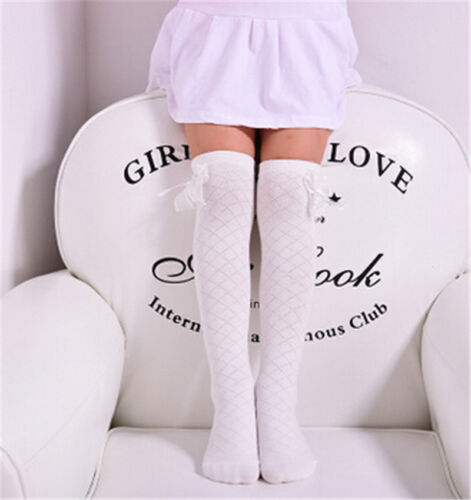 Toddlers Girls Cotton Socks Tights School Knee High Stockings Bow Warmer、Pop