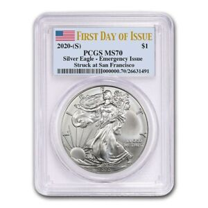 2020-S-Silver-Eagle-PCGS-MS70-First-Day-of-Issue-Emergency-issue-Flag-Label