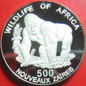1996-ZAIRE-500-ZAIRES-DEEP-CAMEO-SILVER-PROOF-GORILLA-AFRICAN-WILDLIFE-SUPERB