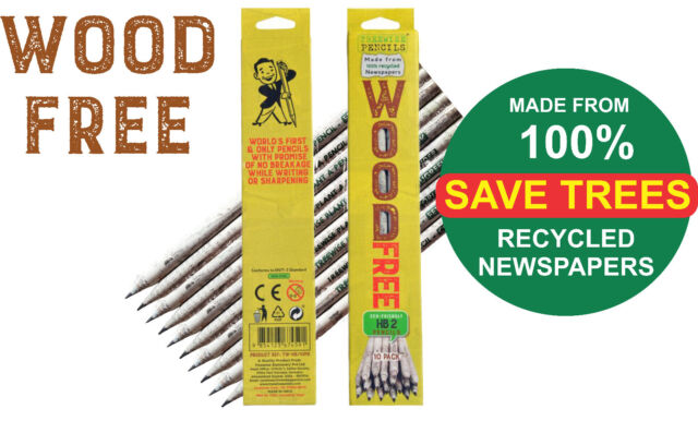 Recycled Newspaper Pencils WOOD FREE,10 Pencils (1 Pack) FREE DELIVERY