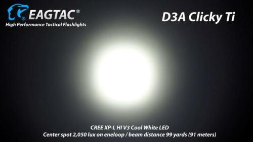 Eagletac D3A Titanium Flashlight  Nichia 219C CRI-92 w// IMR 14500 battery /& A1