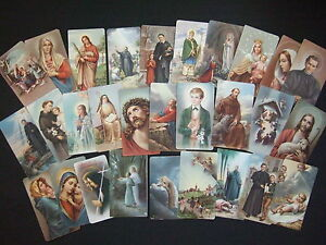 Lot-of-29-Vintage-Catholic-HOLY-CARDS-Saints-pictures-Italy
