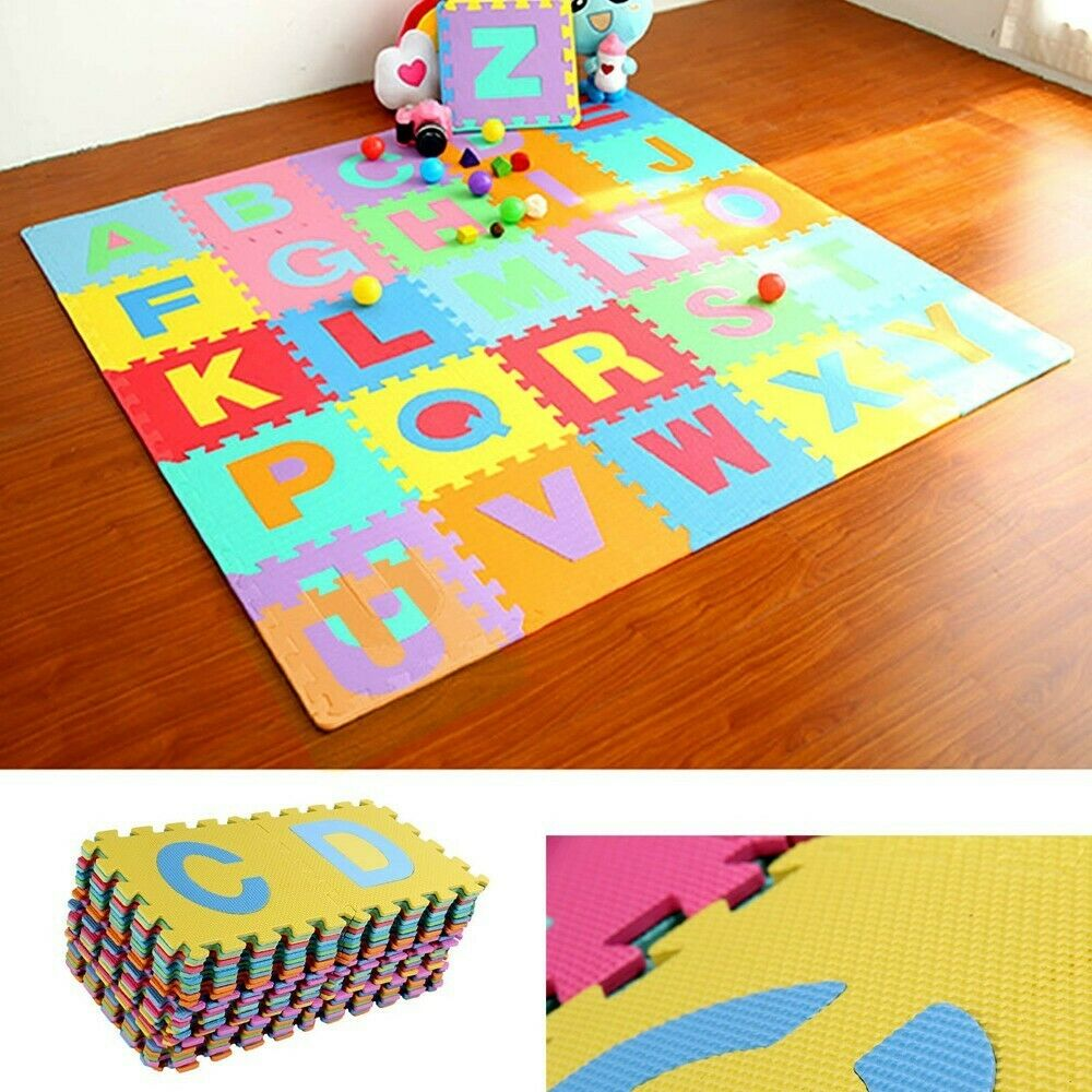 Large Kids Baby Floor Play Mats Complete Alphabet Number Soft EVA Foam Jigsaw CB