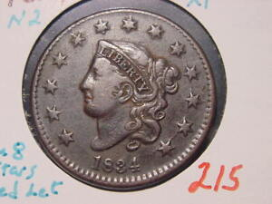 1834 N-2 CORONET HEAD LARGE CENT XF NICE SM 8 LG STARS MED LET COMBINED SHIPPING