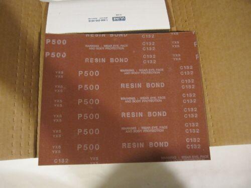 """NOS 25 9/""""X11/"""" sheets 500 grit Resin Bond sandpaper"""