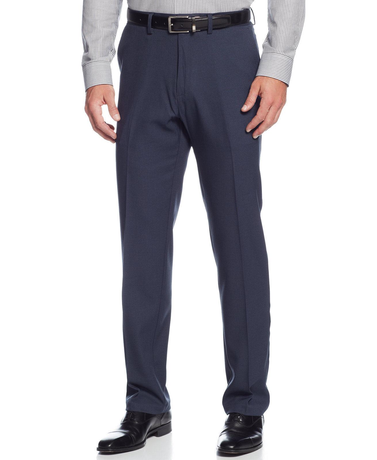 KENNETH COLE REACTION men blueE FLAT FRONT SLIM FIT DRESS PANTS 33 W 32 L
