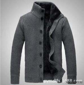 Mens-Woolen-Jacket-Fleece-Lined-Stand-Collar-Thicken-Warm-Sweater-Cardigan-Parka