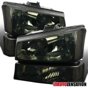 For-2003-2006-Chevy-Silverado-Avalanche-Smoke-Headlights-Bumper-Signal-Lamps