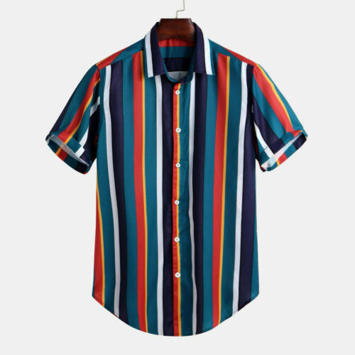 Men/'s Colorful Stripe T-Shirt Summer Short Sleeve Buttons Blouse Tops Basic Tee