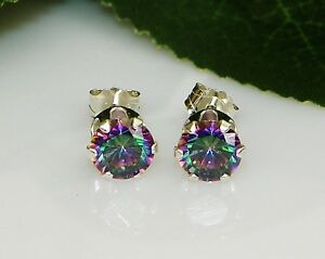 Rainbow-Fire-Mystic-Topaz-Round-Diamond-Cut-Sterling-Silver-Stud-Earrings